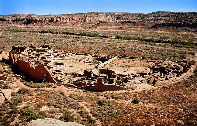 Classic view from the trail above Pueblo Bonito, Chaco Culture National Historic Park, New Mexico.
