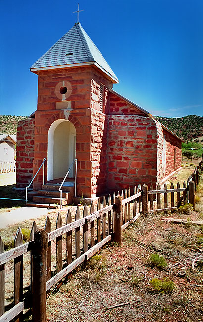 The Church at Cuervo, New Mexico seems well-maintained and served, unlike the rest of the town.
