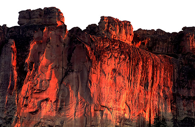 Cliffs of Inscription Rock at last light, El Morro National Monument, New Mexico.