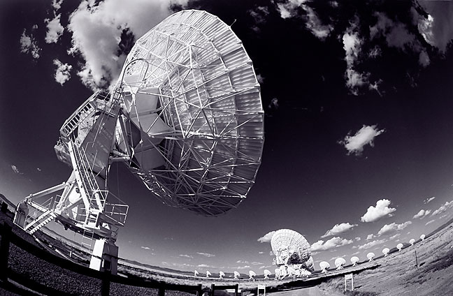 Fisheye view of the VLA on black-and-white film with deep orange filter.