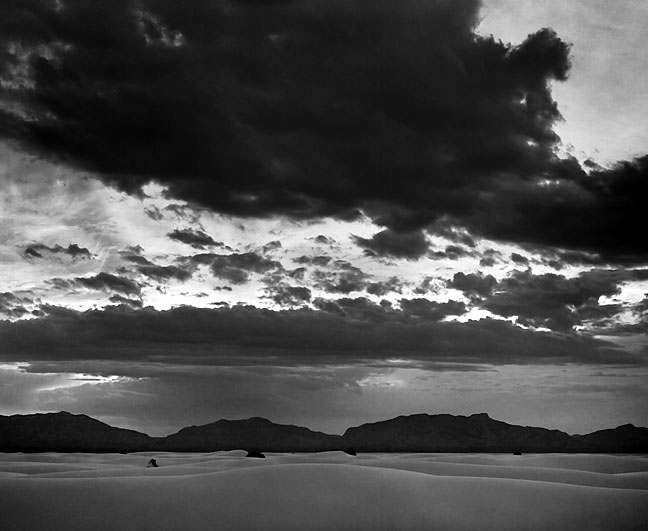Brooding clouds mute the late afternoon light at White Sands.