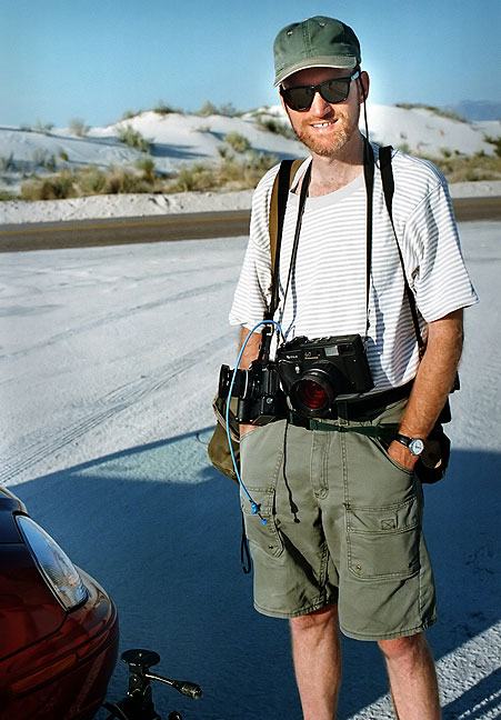 The author poses with his medium format camera, among others, at White Sands National Monument, New Mexico.