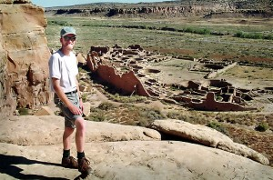 Your host poses at the Pueblo Bonita overlook at Chaco Canyon.
