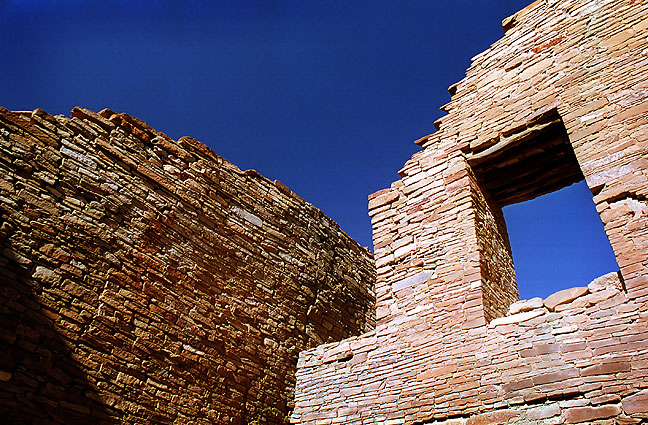 This structure is typical of the intricate masonry that was constructed by the inhabitants of Chaco between A. D. 800 and A. D. 1300.