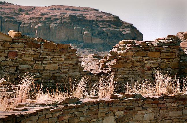Masonry and Dry Grass, Pueblo Bonita, Chaco