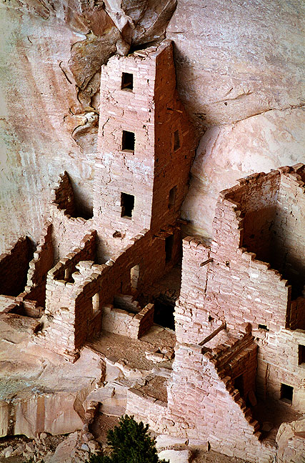 Square Tower House just after sunset, Mesa Verde National Park, Colorado.