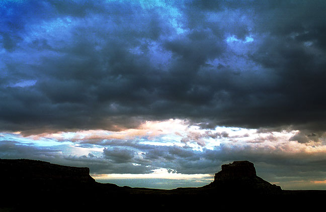Chacra Mesa and Fajada Butte, sunset