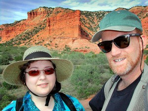 Margaret and I take time to pose for a self-portrait on the trail at Caprock.