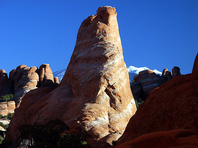 This view shows sndstone pinnacle near Skyline Arch in Arches National Park.