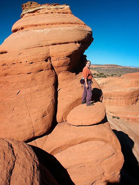 David explores the fins above Delicate Arch.