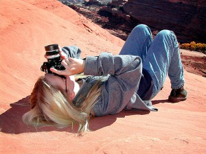 Jamie uses my Nikkormat to photograph Delicate Arch.