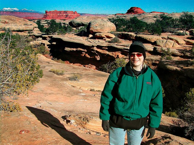Jamie smiles as we explore the area around the Squaw Flat Campground at Canyonlands.