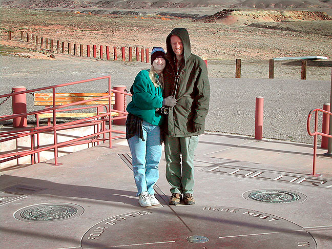 It takes a pretty cold morning to get me to wear my camp coat, which it was in this image with Jamie at Four Corners Monument, where we stopped on our way to Canyonlands.