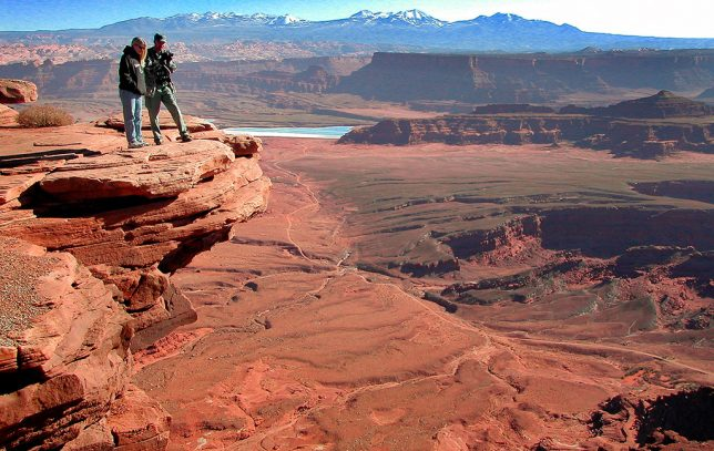 Jamie and I stand on a precipice at Dead Horse Point.