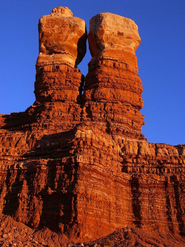I couldn't have timed it better than this: the Navajo Twin Rocks in Bluff, Utah, catch the last deep hues of sunset.