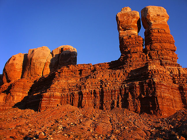 Near the end of our trip, we stopped for dinner in Bluff, Utah, where I photographed the Navajo Twin Rocks at sunset.