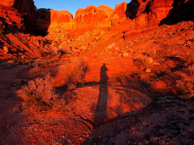 I made this shadow self-portrait at Navajo Twin Rocks near Bluff, Utah.