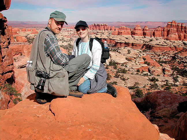 Jamie and I rest at the Elephant Canyon Overlook on the Chesler Park trail in the Needles District at Canyonlands.