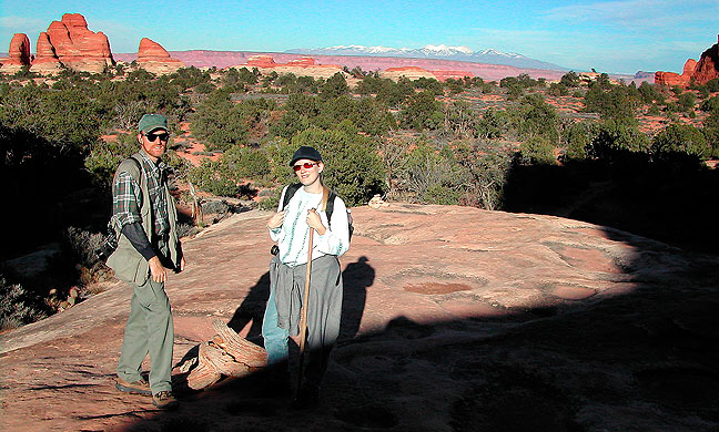 Almost home: Jamie and I stop to pose for a photo as we approach the Squaw Flat Campground after spending the day on the Chesler Park trail at Canyonlands.