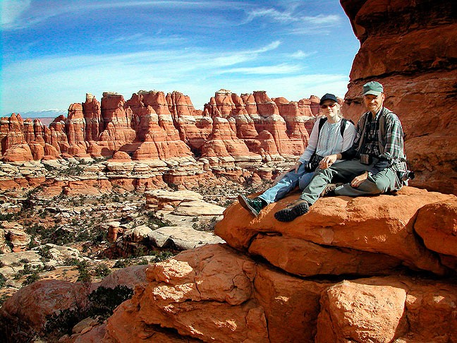 Jamie and I pose for a photo in the heart of Canyonlands, Chesler Park.