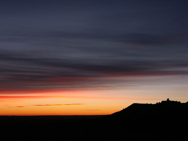 Predawn lights finds its way toward dawn on U.S. 666 north of Gallup, New Mexico.