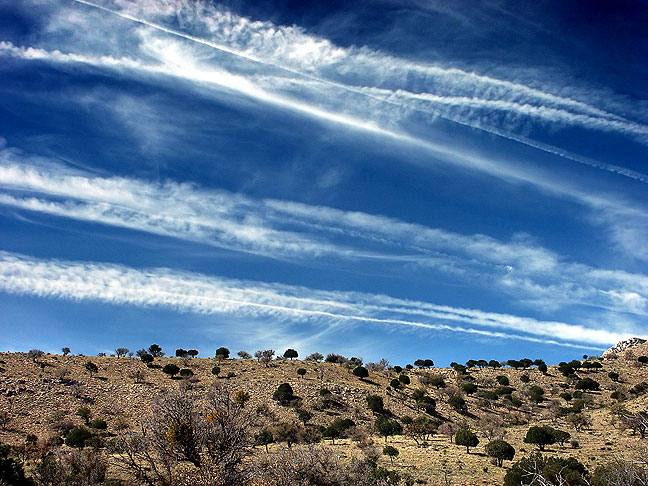 Contrails over Guadalupe Mountains National Park