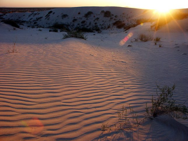 The last of the setting sun catches the gypsum dunes.