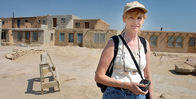 Abby poses at at Acoma Pueblo, New Mexico.