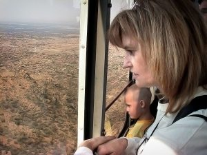 Abby watches as we ride the Sandia Peak Aerial Tramway.