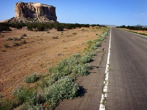 The road from I-40 to the Pueblo passes the Mesa Enchantada, regarded as sacred by the Acoma.