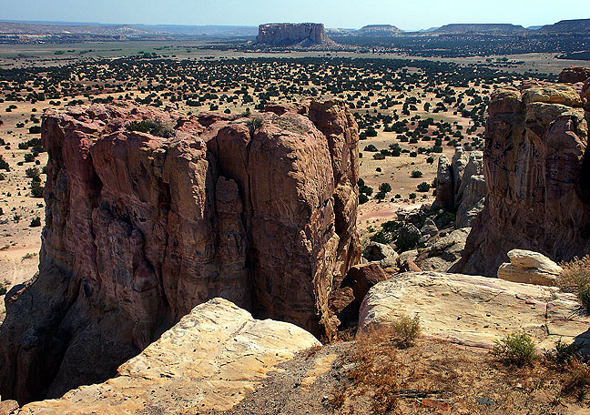 This view looks northeast from Acoma Pueblo toward Mesa Enchantada.