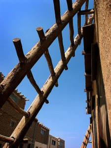 Ladder, street and sky, Acoma Pueblo