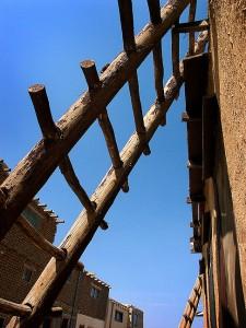 Ladder, street and sky, Acoma Pueblo