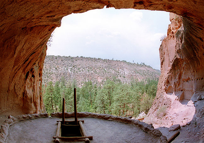 Fisheye view of the ceremonial kiva, Bandelier National Monument; this cave is accessed by ascending four wooden ladders.