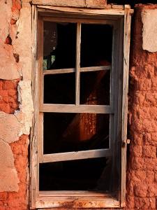 Window, abandoned house, Cuervo, New Mexico.