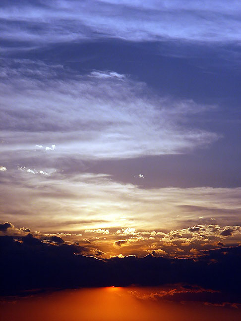 Sunset across Interstate 40, Cuervo, New Mexico