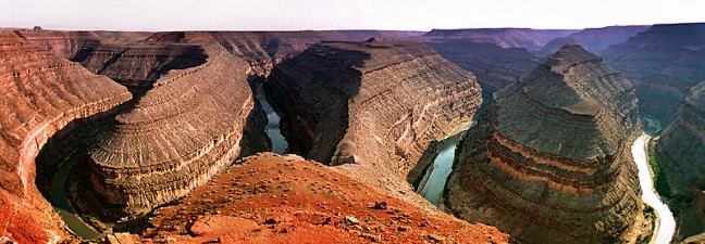 This is a fisheye view of Goosenecks of the San Juan River State Park, Utah.
