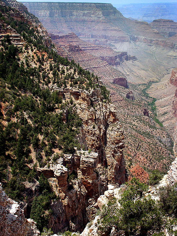 This view of the Grand Canyon looks east from the Navajo Overlook.