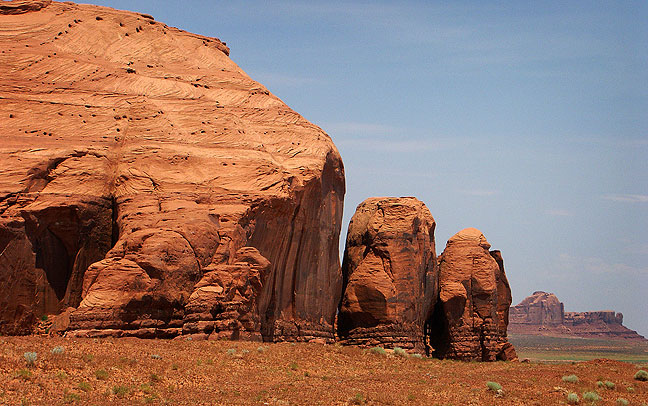We were only passing through Monument Valley, but did stop to make a few images. Just before I made this one, I startled a steer hiding near the road.