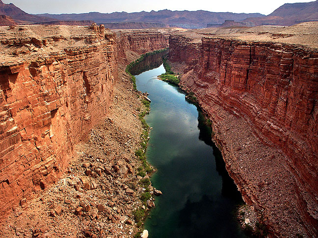 This view looks north up the Colorado river from the Navajo Bridge.