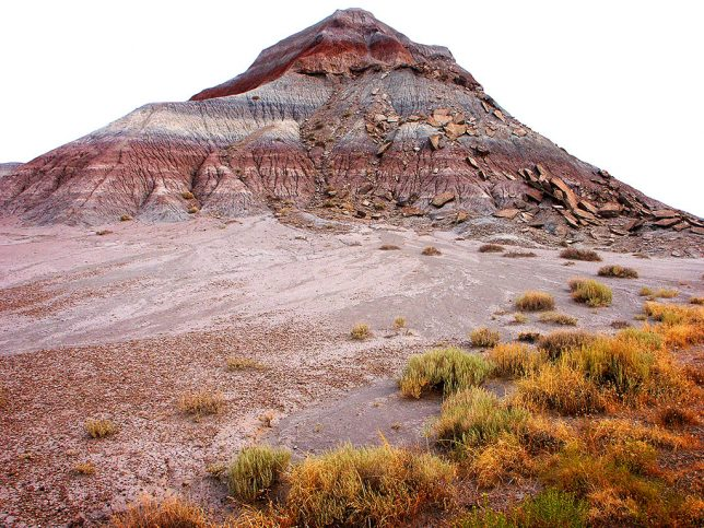 Blue Mesa stands between the Painted Desert and the Petrified Forest.