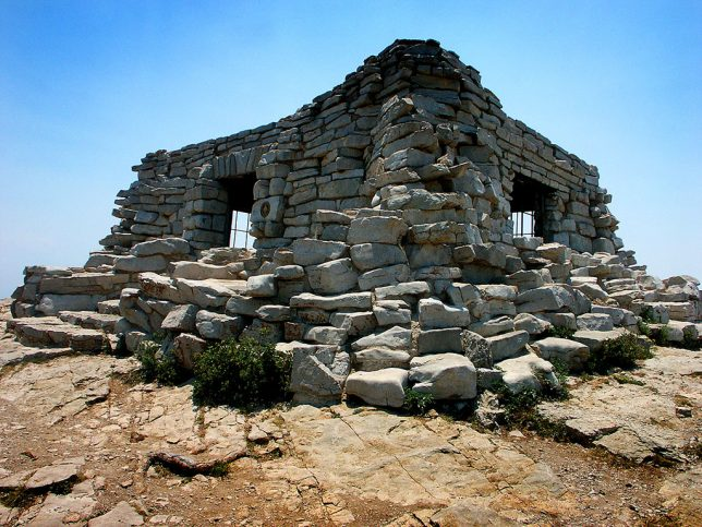 The Scout House at Sandia Peak stands at the edge of a 5000-foot precipice.