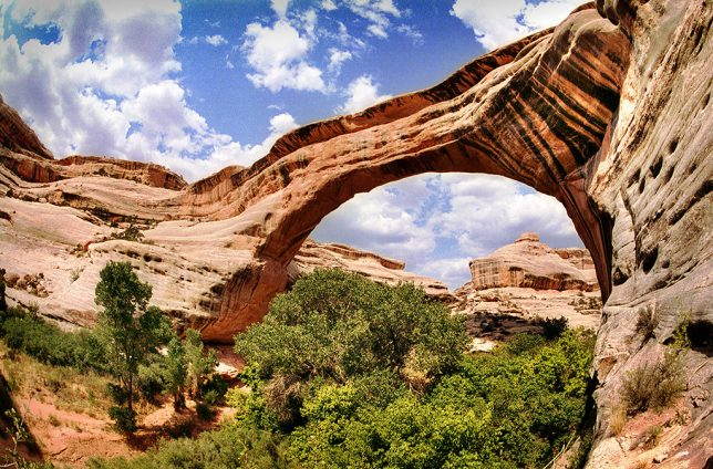 "At 268 feet in span, Sipapu Bridge at Natural Bridges National Monument, Utah, is the ninth largest natural span in the world. Sipapu means ""Place of Emergence."""