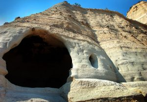 This small cave is visible on the trail at Kasha-Katuwe Tent Rocks National Monument.