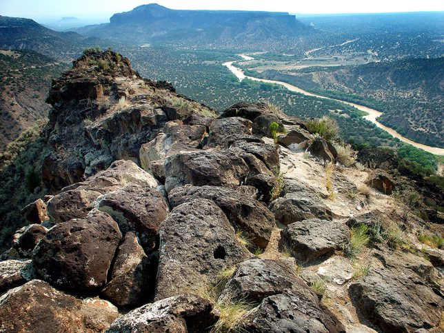 This view from the White Rock Overlook shows the Rio Grande as it flows from northeast to southwest.