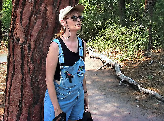 Abby looks at the scenery at Bandelier National Monument.