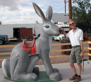 Abby shot this photo of me with the giant jackrabbit in Winslow, Arizona.