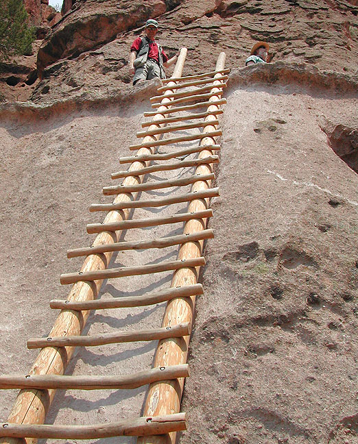 Abby made this picture of me at the top of one of the four ladders leading up to Alcove House at Bandelier.