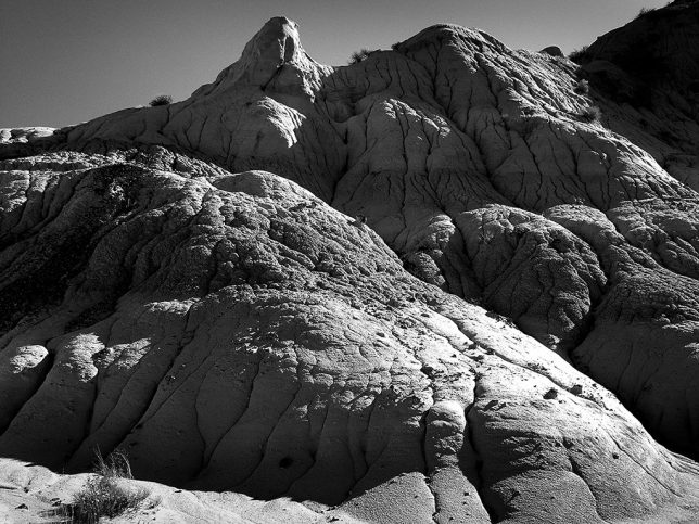 Since we were at the bottom of the basic at Angel Peak during the middle of the day, the formations looked more commanding to me in black and white.
