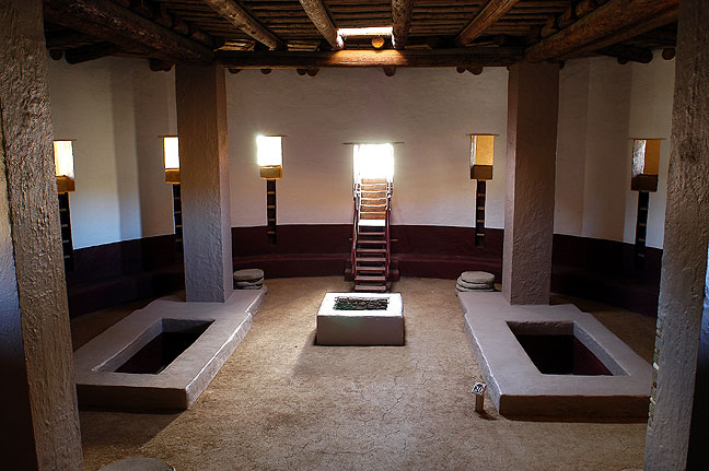 The reconstructed great kiva at Aztec Ruins National Monument, Aztec, New Mexico.